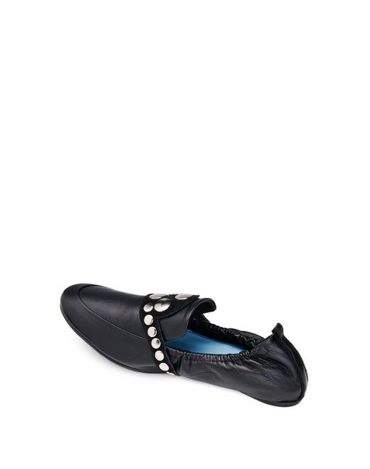 lanvin black two-material slipper women