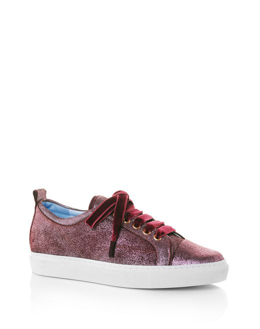 lanvin metallic pink low-top sneaker  women