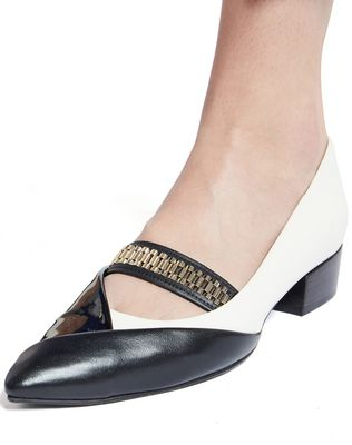 LANVIN CHAIN CROSS-OVER BALLET FLAT Ballerinas D e