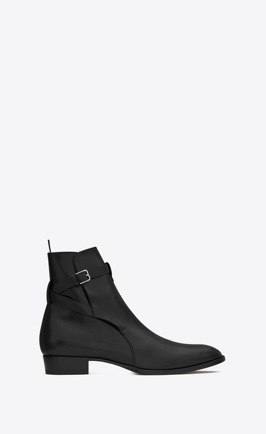SAINT LAURENT Boots Man wyatt 30 jodhpur boot in black leather a_V4