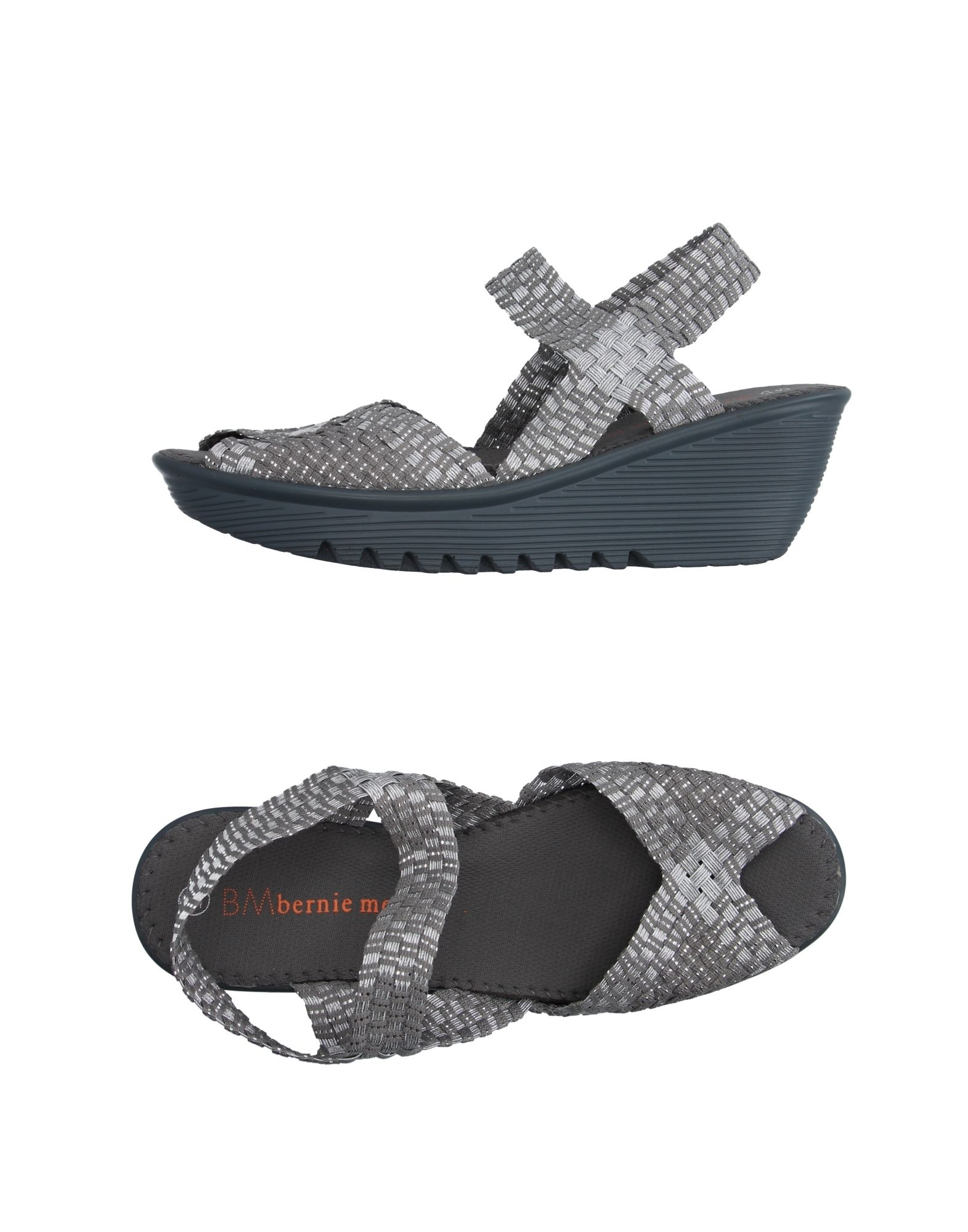 BERNIE MEV. Sandals. techno fabric, no appliqués, laminated effect, solid color, elasticized gores, round toeline, technical fabric inner, rubber cleated sole, wedge heel. Textile fibers