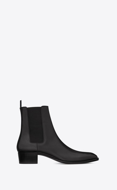 SAINT LAURENT Boots U classic wyatt 40 chelsea boot in black leather a_V4