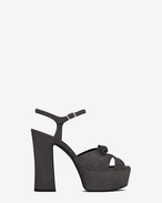SAINT LAURENT Candy D CANDY 80 Bow Sandal in Washed Slate Grey Suede f