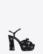 SAINT LAURENT Candy D CANDY 80 Bow Sandal in Black Suede and Silver Glitter f