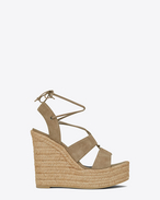 SAINT LAURENT Espadrille D ESPADRILLE 85 Lace-Up Wedge Sandal in light tobacco Suede f