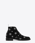 SAINT LAURENT Flache Stiefeletten D LOLITA 20 Lace-Up Boot in Black Suede and Silver Glitter f