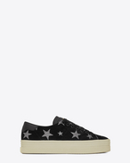 SAINT LAURENT Sneakers D Signature COURT CLASSIC SL/39 Platform Sneaker in Black Suede and Silver Glitter f