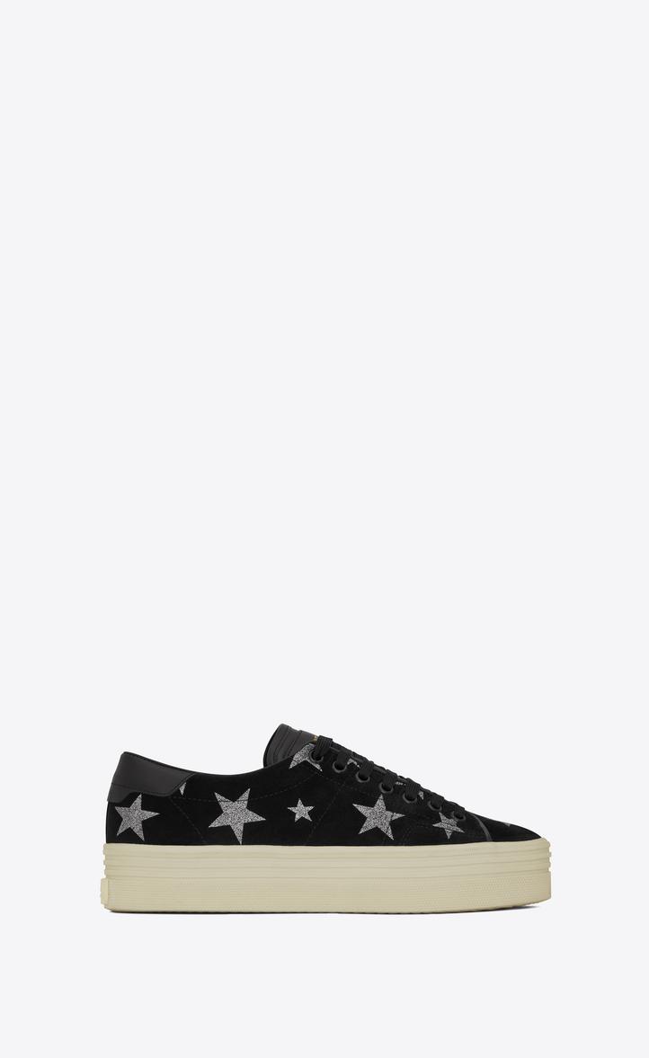 Saint Laurent Sneaker SL/39 suede stars silver yf4TV31bgN
