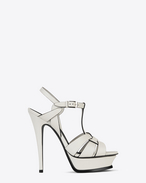 SAINT LAURENT Sandals D Classic TRIBUTE 105 Sandal in Chalk and Black Leather f