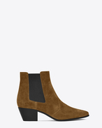 SAINT LAURENT Flat Booties D ROCK 40 Western Ankle Boot in Cognac Suede f