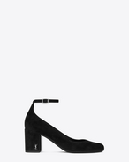 SAINT LAURENT Babies D BABIES 70 Ankle Strap Pump in Black Suede and Silver-Toned Metal f