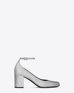 SAINT LAURENT Babies D BABIES 70 Ankle Strap Pump in Silver Metallic Woven Glitter Fabric and Silver-Toned Metal f