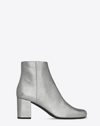 SAINT LAURENT Babies D BABIES 70 Ankle Boot in Silver Metallic Leather and Silver-Toned Metal f