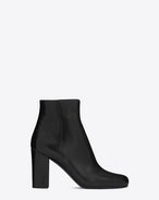 SAINT LAURENT Babies D BABIES 90 Ankle Boot in Black Leather and Black Chrome f