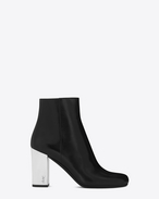 SAINT LAURENT Babies D BABIES 90 Ankle Boot in Black Leather, Mirrored Faux Leather and Silver-Toned Metal f