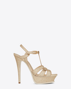 SAINT LAURENT Sandals D Classic TRIBUTE 105 Sandal in Pale Gold Metallic Woven Glitter Fabric f
