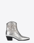 SAINT LAURENT Flat Booties D ROCK 40 Cowboy Ankle Boot in Silver Metallic Grained Leather and Silver Python Embossed Leather f