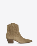 SAINT LAURENT Flache Stiefeletten D ROCK 40 Cowboy Ankle Boot in Light Tobacco Suede f
