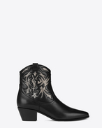 SAINT LAURENT Flat Booties D ROCK 40 Cowboy Ankle Boot in Black Leather and Grey Snakeskin f
