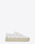 SAINT LAURENT Sneakers D Signature COURT CLASSIC SL/39 CALIFORNIA Platform Sneaker in Off White Leather and Silver Metallic Leather f