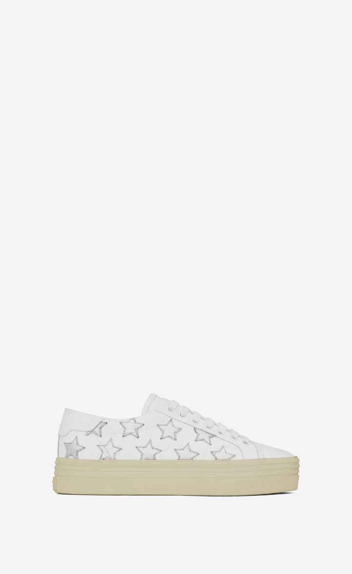 34cd884b990 Signature COURT CLASSIC SL 39 CALIFORNIA Platform Sneaker in Off White  Leather and Silver Metallic