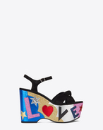 "SAINT LAURENT Candy D CANDY 50 ""LOVE"" Knotted Sandal in Black Suede and Multicolor Metallic Leather and Glitter f"