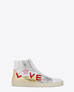 "SAINT LAURENT Sneakers D Signature COURT CLASSIC SL/06 ""LOVE"" Mid-Top Sneaker in Off White Leather and Multicolor Metallic Leather and Glitter f"