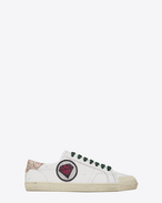 SAINT LAURENT Sneakers D Signature COURT CLASSIC SL/37 Diamond Patch Sneaker in Off White Distressed Leather and Multicolor Woven Fabric f