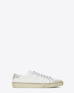 SAINT LAURENT Trainers D Signature COURT CLASSIC SL/37 SURF Sneaker in Off White Distressed Leather and Silver Glitter f