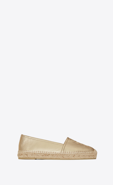 SAINT LAURENT Espadrille D MONOGRAM ESPADRILLE in Pale Gold Metallic Leather a_V4