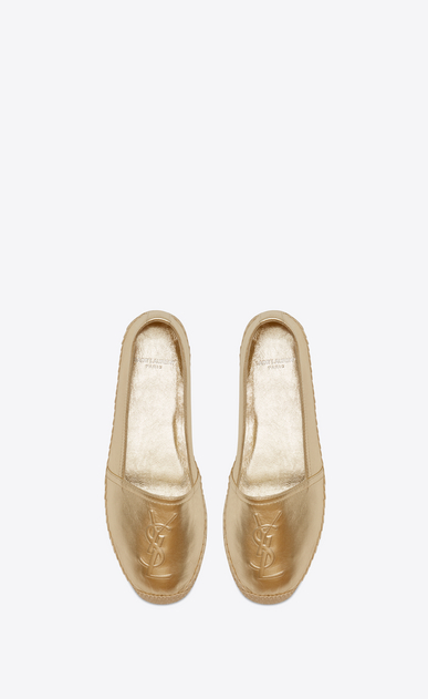 SAINT LAURENT Espadrille D MONOGRAM ESPADRILLE in Pale Gold Metallic Leather b_V4
