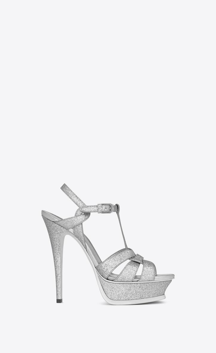 618631814e4 Saint Laurent Classic TRIBUTE 105 Sandal In Silver Metallic Woven ...