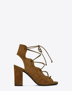 SAINT LAURENT Babies D BABIES 90 Lace-Up Cage Sandal in Cognac Suede f