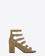 SAINT LAURENT Babies D BABIES 70 Ankle Strap Pump in Light tobacco Suede and Antique Gold-Toned Metal f