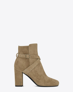 SAINT LAURENT Babies D BABIES 90 Cross Strap Ankle Boot in Light tobacco Suede and Antique Gold-Toned Metal f