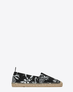 SAINT LAURENT Espadrille U ESPADRILLE in Black and Shell Hawaiian Hibiscus Canvas f