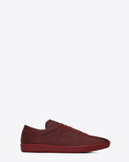 SAINT LAURENT Low Sneakers U Klassischer Signature Court SL/01 Sneaker aus dunkelrotem Leder f