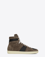 SAINT LAURENT SL/10H U signature court classic sl/10h sneaker in clay grey suede and black leather f