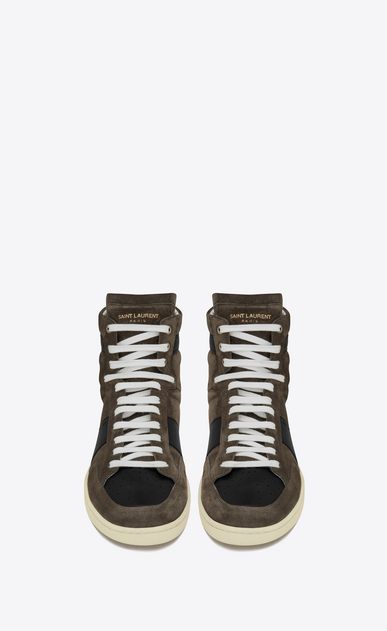 SAINT LAURENT SL/10H U signature court classic sl/10h sneaker in clay grey suede and black leather b_V4
