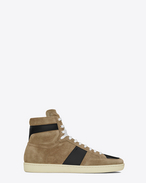 SAINT LAURENT SL/10H U Signature COURT CLASSIC SL/10H SNEAKERS in Light Tobacco Suede and Black Leather f
