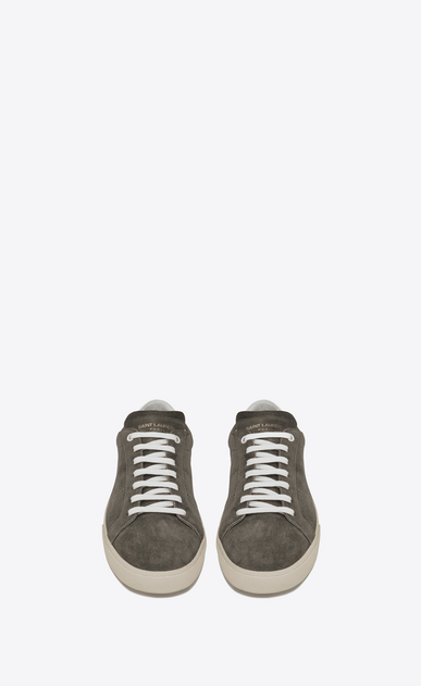 SAINT LAURENT SL/06 U Signature COURT CLASSIC SL/06 Sneaker in Clay Grey Suede and Off White Leather b_V4