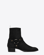 SAINT LAURENT Stiefel U Classic WYATT 40 Harness Boot in Black Waxed Suede f