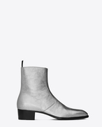 SAINT LAURENT Boots U Signature WYATT 40 Zipped Boot in Silver Metallic Leather f