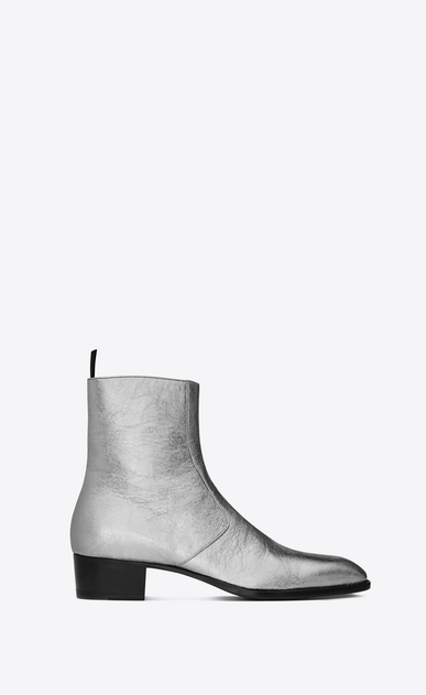 SAINT LAURENT Boots U Signature WYATT 40 Zipped Boot in Silver Metallic Leather a_V4