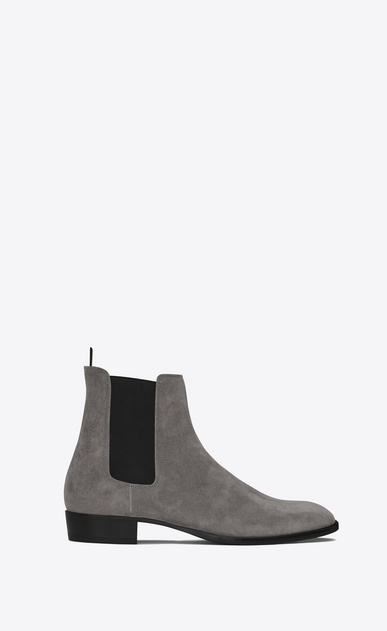 SAINT LAURENT Boots Man Classic WYATT 30 Chelsea Boot in Clay Grey Suede a_V4