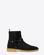 SAINT LAURENT Boots U NEVADA 20 Harness Boot in Black Suede f