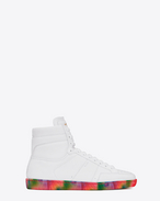 SAINT LAURENT SL/10H U Signature COURT CLASSIC SL/10H SNEAKERS in Off White Leather with Multicolor Tie-Dye Sole f