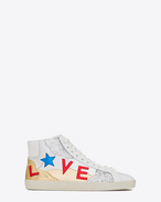 SAINT LAURENT High top sneakers U Klassischer Signature Court SL/06M LOVE halbhoher Sneaker aus gebrochenem weißen Leder und buntem Metallic-Leder mit Glitzer f
