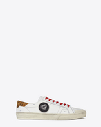 SAINT LAURENT SL/06 U Signature COURT CLASSIC SL/37 SURF Diamond Patch Sneaker in Off White Distressed Leather, Leopard printed Suede and Multicolor Woven Fabric f