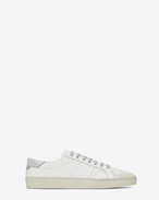 SAINT LAURENT Low Sneakers U signature court classic sl/37 sneaker in off white distressed leather and silver glitter f